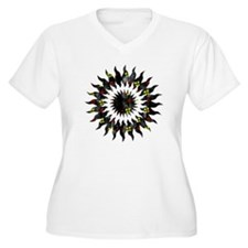 Red and Black Floral Grunge Sun Star T-Shirt