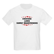 Loves: Downy Woodpeckers Kids T-Shirt