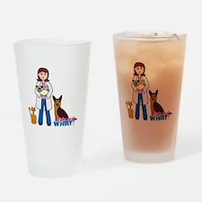 Woman Veterinarian Drinking Glass