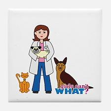 Woman Veterinarian Tile Coaster
