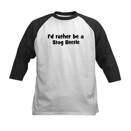 Rather be a Stag Beetle Kids Baseball Jersey