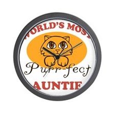 One Purrfect Auntie Wall Clock