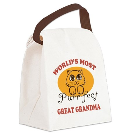 One Purrfect Great Grandma Canvas Lunch Bag