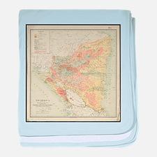Vintage Map of Nicaragua (1903) baby blanket