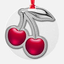 Glass Chrome Cherries Ornament