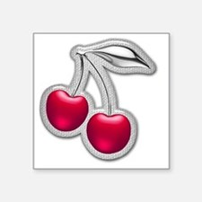 "Glass Chrome Cherries Square Sticker 3"" x 3"""