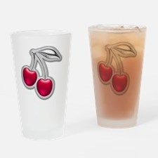 Glass Chrome Cherries Drinking Glass