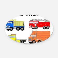I Like Trucks Oval Car Magnet