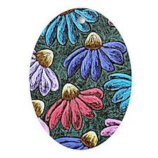 Half Flowers Oval Ornament