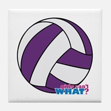 Purple Volleyball Tile Coaster