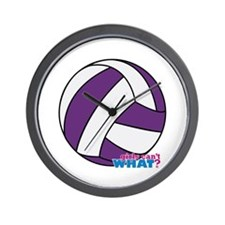 Purple Volleyball Wall Clock