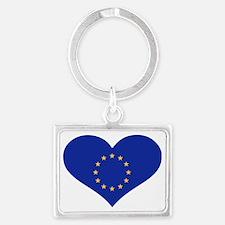 Europe EU flag heart Landscape Keychain