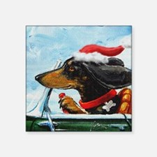 "Dachshund Takes the Wheel f Square Sticker 3"" x 3"""