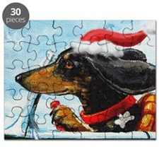 Dachshund Takes the Wheel for the Holidays Puzzle