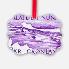 1975 Greenland Narwhal Whale Post Ornament