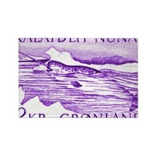 1975 Greenland Narwhal Whale Post Rectangle Magnet