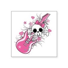 "Cute Skull with Pink Guitar Square Sticker 3"" x 3"""
