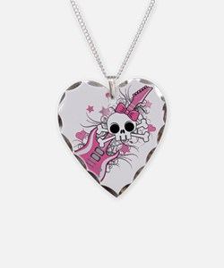 Cute Skull with Pink Guitar Necklace