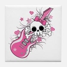 Cute Skull with Pink Guitar Tile Coaster