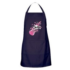 Cute Skull with Pink Guitar Apron (dark)