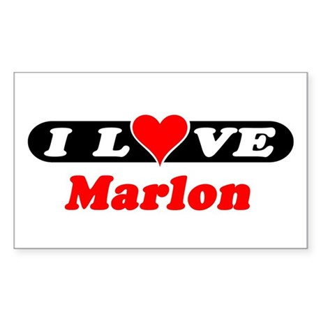 I Love Marlon Rectangle Sticker
