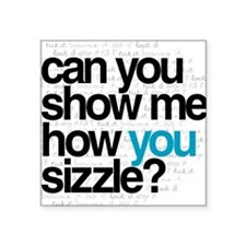"""White w/ Blue Sizzle Square Sticker 3"""" x 3"""""""