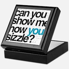 White w/ Blue Sizzle Keepsake Box