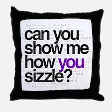 White w/ Purple Sizzle Throw Pillow