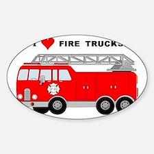 I Heart Fire Trucks! Sticker (Oval)