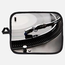 Macro shot of vinyl player with backligh Potholder