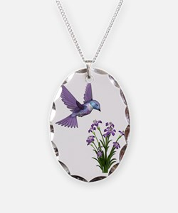 Purple Humming Bird with Flowe Necklace