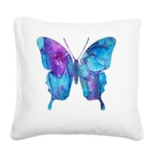 Electric Blue Butterfly Square Canvas Pillow