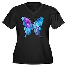 Electric Blu Women's Plus Size Dark V-Neck T-Shirt