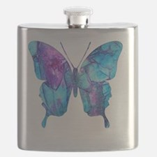 Electric Blue Butterfly Flask