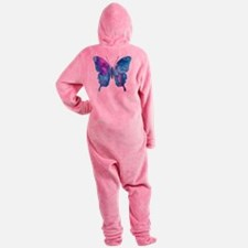 Electric Blue Butterfly Footed Pajamas