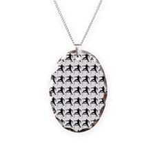 Hurdler Track  Field Silhouett Necklace Oval Charm