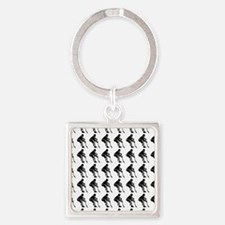 Hockey Player Silhouette or Icon Square Keychain