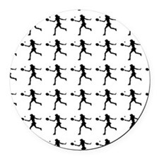 Girls Tennis Silhouette or Icon Round Car Magnet