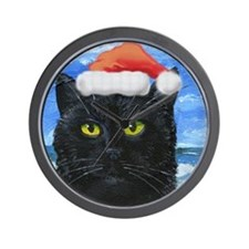 Santa Holiday Cat Wall Clock