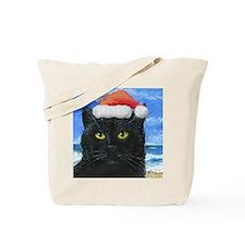 Santa Holiday Cat Tote Bag