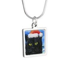 Santa Holiday Cat Silver Square Necklace