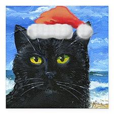 "Santa Holiday Cat Square Car Magnet 3"" x 3"""