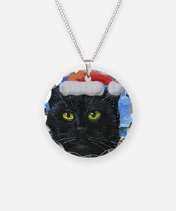 Santa Holiday Cat Necklace