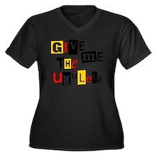 Ukulele Rans Women's Plus Size Dark V-Neck T-Shirt