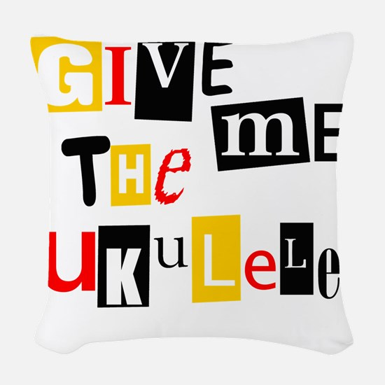 Ukulele Ransom Note Woven Throw Pillow
