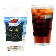 SANTA HAT CAT Drinking Glass
