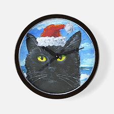 SANTA HAT CAT Wall Clock