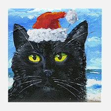 SANTA HAT CAT Tile Coaster