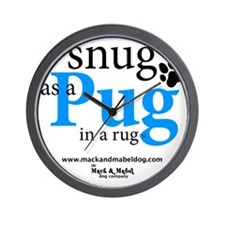 snug as a pug in a rug Wall Clock