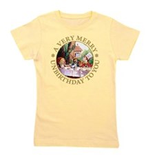 ALICE MAD HATTER unbirthday gold copy Girl's Tee